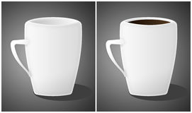 Cups. Two cups (emty and full of coffee) in grey background. (illustration Stock Photo