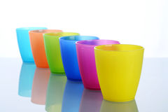 Cups. Colorful cups with white background Stock Photos