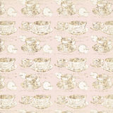 Cups background. Illustration of repeating coffee or tea cups in light brown color Royalty Free Stock Photo