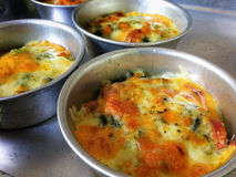 Cups of Baked Spinach with Cheese royalty free stock images