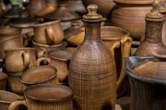 Cups, bottles and other ceramic ware Royalty Free Stock Photos