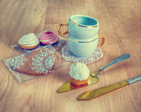 Cups and cake Stock Photo