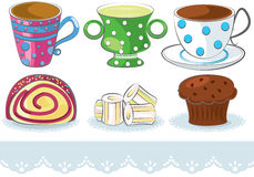 Cups and cakes Stock Photos