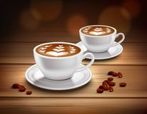 Cups of Cappuccino Coffee Composition. With hearts picture and coffee beans realistic vector illustration vector illustration