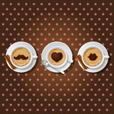 3 cups of cappuccino with love symbol. 3 cups of cappuccino with male love female symbol on dot seamless pattern Royalty Free Stock Photos