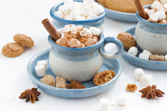 Cups of cocoa with marshmallows and cinnamon Stock Photos