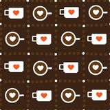 Cups of coffee. Seamless texture with a cup of coffee in the chess order Royalty Free Stock Images