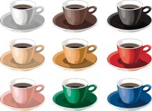 Cups of coffee. Cappuccino, chocolate vector illustration