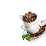 Cups of coffee beans Royalty Free Stock Images