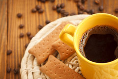 cups of coffee and biscuits Stock Photo