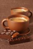 Cups of coffee and chocolate Stock Photo