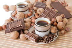 Cups of coffee with chocolate Royalty Free Stock Images