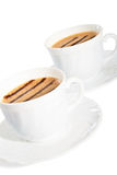 Cups of coffee with chocolate lines. Stock Photo