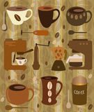 Cups of coffee and coffee makers Stock Images