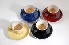 4 cups of coffee Stock Photography