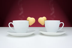 Cups of coffee with cookies Royalty Free Stock Photos