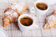 Cups of coffee with croissant Royalty Free Stock Photo