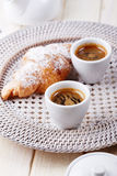 Cups of coffee with croissant Stock Image