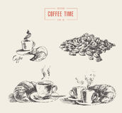 Cups coffee croissant vector drawn sketch Royalty Free Stock Image