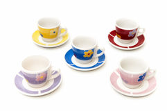 Cups of coffee of different colors Stock Photo