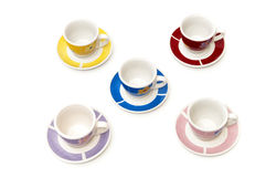 Cups of coffee of different colors Stock Photos
