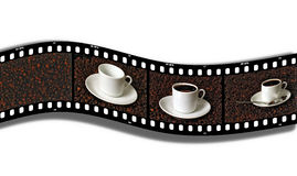 Cups of coffee on film Stock Photography