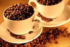 Cups of coffee, full of beans. Royalty Free Stock Image