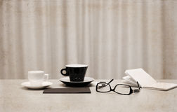 Cups of coffee, glasses Royalty Free Stock Photo