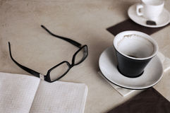 Cups of coffee, glasses Stock Photography
