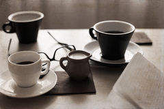 Cups of coffee, glasses, milk Royalty Free Stock Images