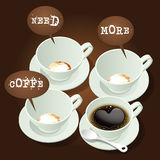 Cups of coffee. 4 cups of hot coffee with speech bubble Stock Photography