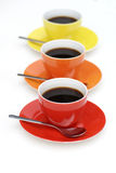 Cups of coffee in line. Stock Image