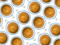 Cups of coffee. Multiple coffee in blue cups on white background Royalty Free Stock Photography