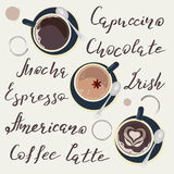 Cups of Coffee. Names of drinks and cups of Coffee top view. Template of banner and poster. Vector illustration eps 10 Royalty Free Stock Images