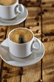 Cups with coffee on old table Stock Photo