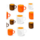 Cups of coffee seamless. Pattern Royalty Free Stock Photography