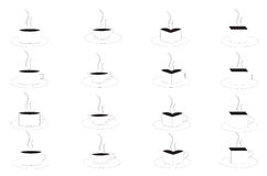 Cups of coffee. Several shapes of cup and hanger of coffee Stock Photos