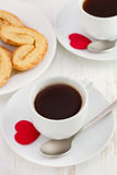 Cups of coffee with spoon Royalty Free Stock Images