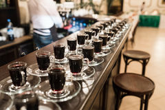 Cups of coffee standing at the bar Royalty Free Stock Photo