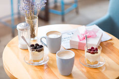 Cups of coffee standing on the table Royalty Free Stock Photos