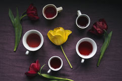 Cups of coffee surrounded by tulips Royalty Free Stock Photos