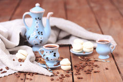 Cups of coffee with sweets. Homemade cookies with cups of coffee, selective focus Stock Photography