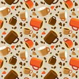 Cups of coffee or tea, coffee beans, hearts on a light backgroun. Seamless pattern with cup of coffee and beans on light background. Cups of coffee, beans and Royalty Free Illustration