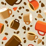 Cups of coffee or tea, coffee beans, hearts on a light backgroun. Seamless pattern with cup of coffee and beans on light background. Cups of coffee, beans and Royalty Free Stock Image