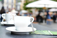 Cups of coffee on a terrace Stock Image