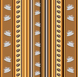 Cups of coffee vertical stripy background with coffee beans Stock Images