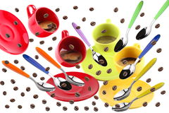 Cups of coffee. On white background in motion with flying spoons and coffee beans Stock Images