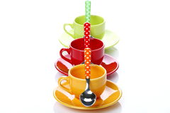 Cups of coffee. On white background with spoons Royalty Free Stock Photography