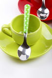 Cups of coffee. On white background with spoons Stock Photo