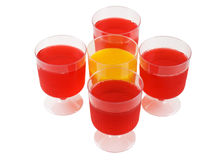 Cups of colorful jello stock photos
